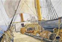 evening prayers on an emigrant ship (+ crossing the ocean to distant lands (illustrated); 2 works) by john absolon