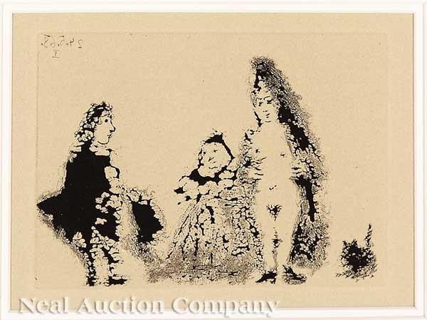 celestine et fille avec un chat et un jeune client (from la celestine) by pablo picasso