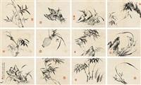 花卉 册页 纸本 by bai jiao