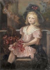 sitzendes mädchen mit rosenstrauss by sofie-zo atteslander