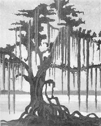 cypress trees with spanish moss by american school-louisiana (20)