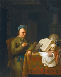 a scholar in his study by justus juncker