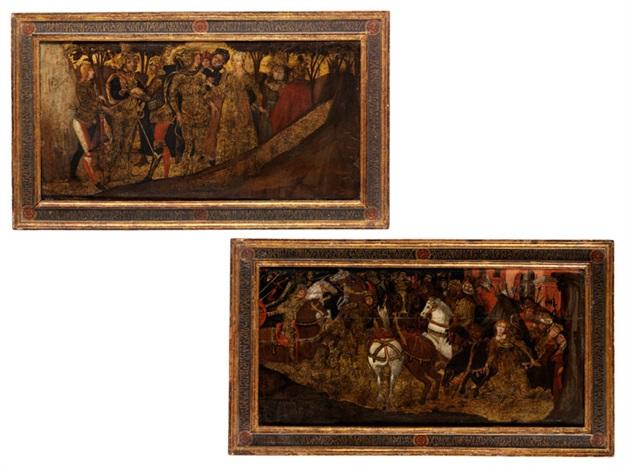 zwei schauseiten einer cassone mit szenen des odysseus 2 works by anonymous 15