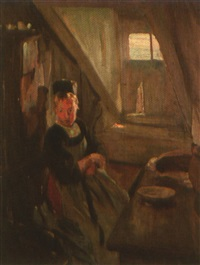 jeune bretonne du pourlet dans son intérieur by adolphe ernest gumery