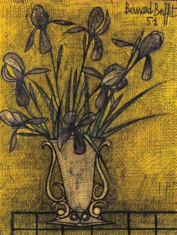 bouquet diris violets dans un vase by bernard buffet