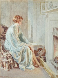 resting by the fire by fred pegram