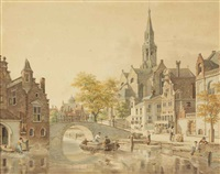 a busy day in a sunlit dutch town by jan hendrik verheyen