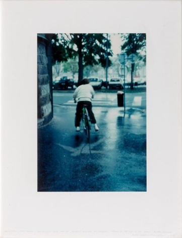 heavy rain laid down for a short time got up bicyclist mounted the paravent racing to get out of the rain by andy goldsworthy