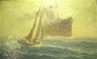 marine painting of a small sailboat with the prow of a large ocean liner approaching in the background by evelyn m. bicknell