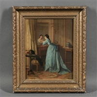 elegant woman gazing in a mirror by eugène accard