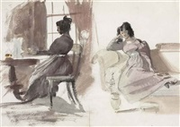 young lady in a pink dress, seated at her desk and seated on a chaise longue (study)(+ old man with a dog and a boy, study, verso) by daniel maclise