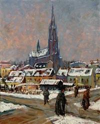 die heilig-kreuz-kirche im winter by hans fischer