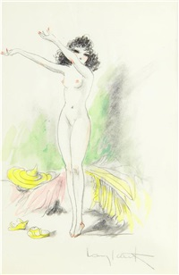 standing nude with arms outstretched by louis icart