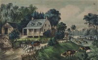 american homestead, the four seasons (4 works) by currier & ives (publishers)
