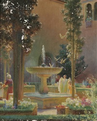 a moorish garden. (alhambra) by charles courtney curran