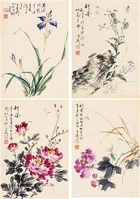花卉草虫 (4 works) by wang xuetao