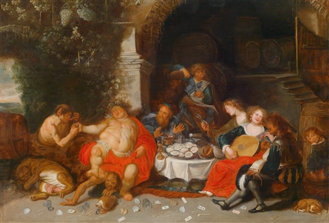 bacchanal in einer grotte by simon de vos