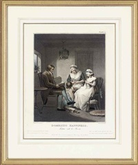 domestic happiness, laetitia with her parents (+ 5 others; 6 works) by john raphael smith