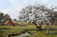 pastoral scene with blossom trees by a stream, and farm animals by a barn beyond by edward wilkins waite