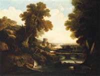 a wooded river landscape with drovers and their herd, with classical ruins and a settlement beyond by george smith of chichester