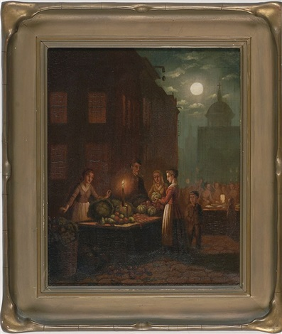 a moonlit city market with figures buying fruit and vegetables at a candlelit table by johann mongels culverhouse
