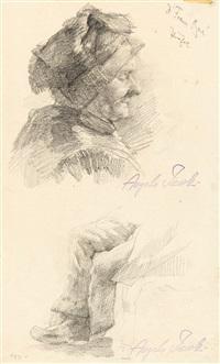 bäuerin im profil - beine eines sitzenden (sketches) by angelo jank