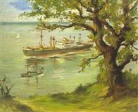 blick vom hohen elbufer auf den strom mit schiffen by werner anton