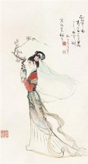 仕女 立轴 水墨纸本 by gu bingxin