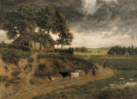 shepherdesses on a country path by continental school 19