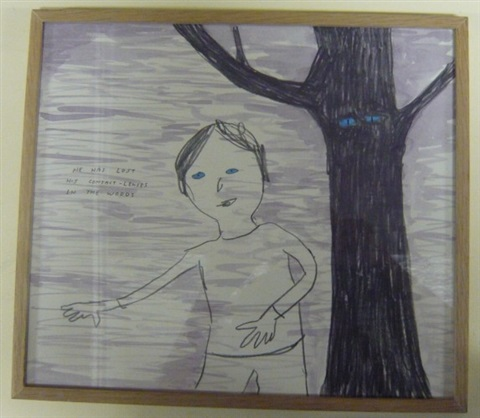he has lost his contact lenses in the woods by david shrigley