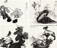 花鸟 (四帧) (4 works) by xu yuanshao