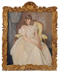 portrait of helen elizabeth anne hutchison, the artist's daughter - three-quarter length seated in a fauteuil, wearing a long cream by william oliphant hutchison