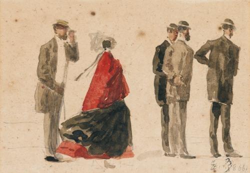 crinoline et hommes au chapeau by eugène boudin