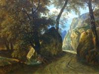 paysan adossé à un arbre au bord d'un chemin forestier by rodolphe töpffer