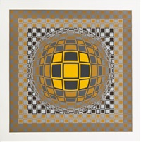 composition cinétique, sphère et cube, gris, orange, noir by victor vasarely