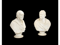 portrait bust of a gentleman (+ a gentleman in classical drapery; 2 works) by william behnes