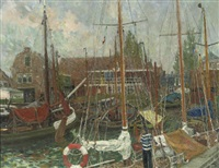 boats in the harbour of spakenburg by harry maas