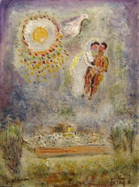 lovers above jerusalem (homage to chagall) by albert goldman