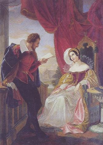 ungt par i renaissancedragter antagelig forestillende william shakespeare der læser op af et af sine værker by cesare mussini