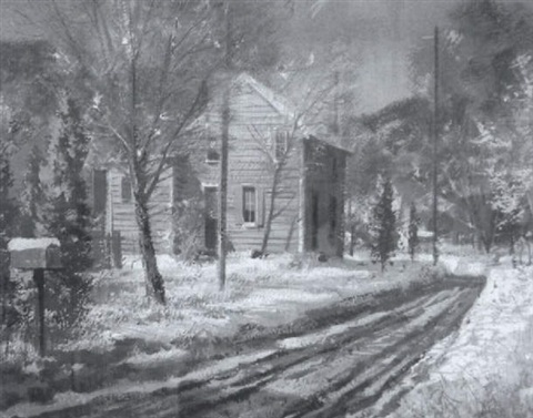 winter landscape with country road and yellow house by john foster