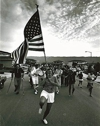 untitled - woman with flag by bill owens