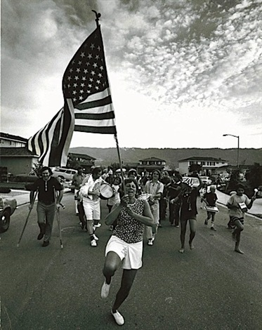 untitled woman with flag by bill owens