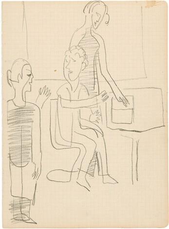 kompositionsentwurf für bild mit drei personen draft from sketchbook by ernst ludwig kirchner