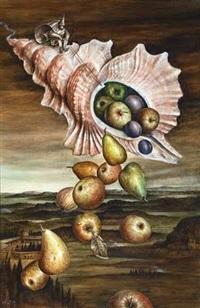 surrealistische komposition mit einer fliegenden muschel als füllhorn by walter andreas angerer