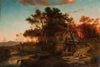 landschaft mit müller und fischer bei bamberg by alois hauser