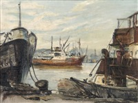 boats moored in a harbour by ruth squibb