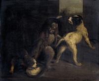 verkleideter affe mit zwei hunden by philippe rousseau