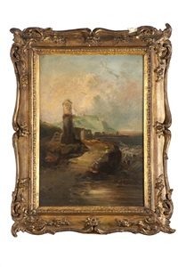 paysage côtier avec phare by mortimer l. smith