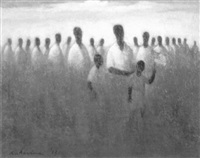 a crowd of african americans with boy holding u.s. flag by robert rukavina