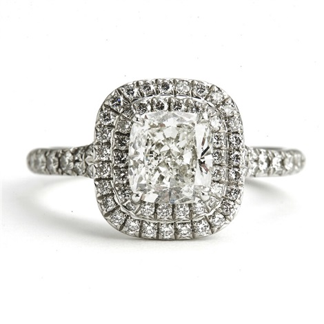 A Diamond Ring Soleste With A Cushion Cut Diamond By Tiffany Co